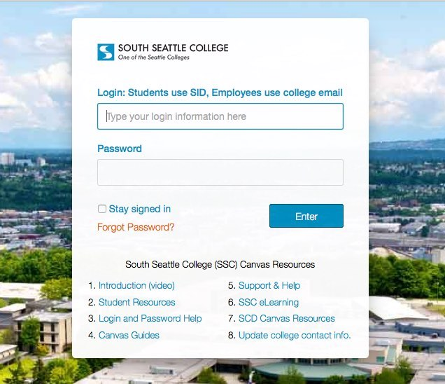 south seattle Canvas login page